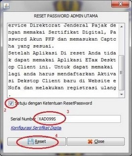 Cara Reset Password Admin Utama E Faktur E Pajak Online